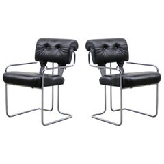 Black Leather Tucroma Chairs by Guido Faleschini for i4 Mariani, 1970s, Signed