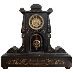 Black Marble French Mantel Clock, circa 1890