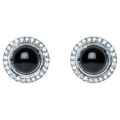 Black Onyx Cabochon Diamond 9 Karat White Gold Stud Earrings Natalie Barney
