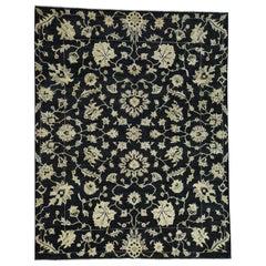 Black Peshawar Design Hand Knotted Pure Wool Oriental Rug