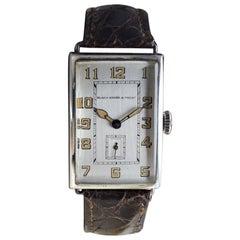 Black Starr & Frost Silver Art Deco Oversized Watch, circa 1920s Handmade