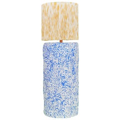 Blue and Yellow Fringed and Hand Knotted Papier Mâché Pilar Table Lamp