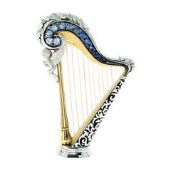 Blue Sapphires 18 Karat White Gold Harp Brooch