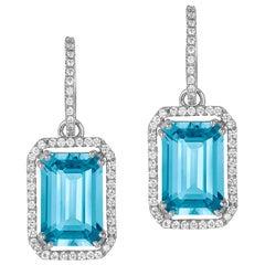 Blue Topaz Emerald Cut Diamond Set Earrings with Diamonds Hoop