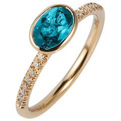 Blue Topaz Faceted Oval Stackable Ring with Diamonds