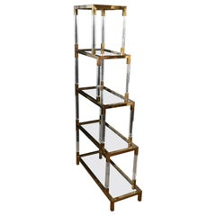 Bookcase / Étagère with Shelves in Plexiglass and Brass, Made in Italy