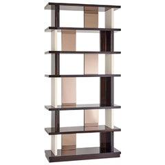 Bookshelf Polished Ebony Finish Back and Side Insert Leather and Bronzed Mirror