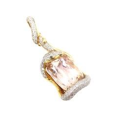 Boon Serpentine 34.92 Carat Oval Kunzite Black and White Diamond Pendant Only