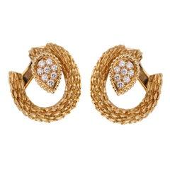 Boucheron Serpent Boheme Diamond Hoop Earrings