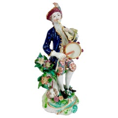 Bow Porcelain Figure, Musician with Flageolet and Tabor, circa 1760