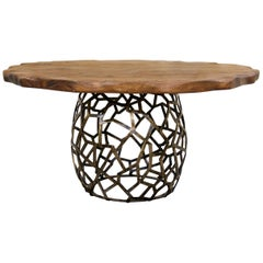 Apis I Dining Table in Brass with Wood Top