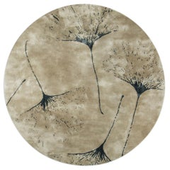 Macushi Circular Tufted Tencel Rug II in Sand with Tree Pattern