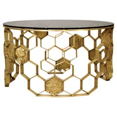 Manuka Center Table in Brass with Bronze Glass Top