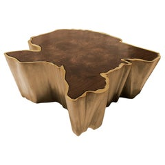 Sequoia Center Table in Brass with Walnut Top