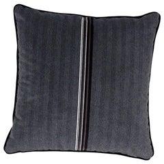 Brabbu Versicolor Pillow in Black Velvet with Stripe