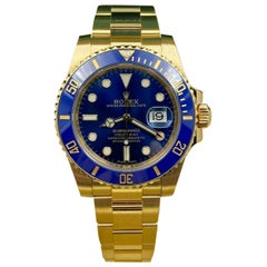 Brand New Rolex Submariner 116618lB Blue Ceramic 18 Karat Gold Box Paper, 2019
