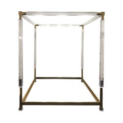 Brass and Acrylic King Size Canopy Bed by Charles Hollis Jones