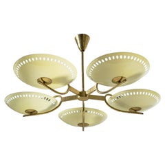 Brass Chandelier with Enameled Glass Shades, 1950s