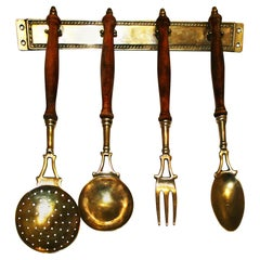 Brass Old Kitchen Utensils with from a Hanging Bar, Early 20th Century