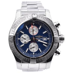 Breitling Stainless Steel Super Avenger Blue Dial Watch Ref. A13371