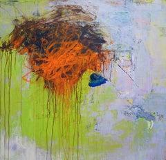 """Mazama 8"", Brenda Cirioni, acrylic, mixed media, abstract, lime green, orange"