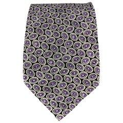 BRIONI Black & Purple Silk Dots Handmade Tie