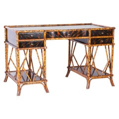 British Colonial Style Faux Bamboo and Tortoise Desk