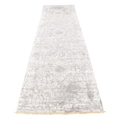Broken Persian Design Wool and Pure Silk Hand-Knotted Runner Rug