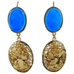 Bronze and engraved Blue Murano glass earrings by Patrizia Daliana