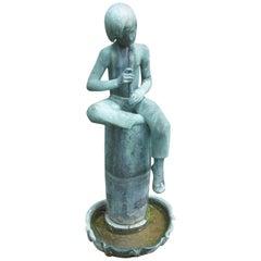 Bronze Boy Flutist Fountain by Sylvia Shaw Judson