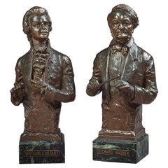 Bronze Busts of Richard Wagner and Wolfgang A. Mozart, by Carl Kauba 1865-1922