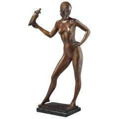 """Bronze Figure of a Female Nude, """"Charmion"""", Alan Clark '1895-1950'"""