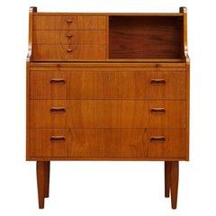 Brown Teak Secretaire Vintage Danish Design Classic, 1960s