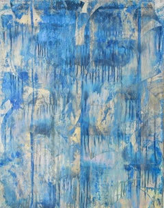 A Dissolving of Illusion (Abstract Expressionist Painting in Blue & Light Gold)