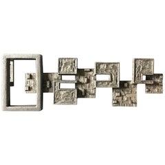 Brutalist Aluminium Door Handle or Wall Decoration, Mid-20th Century, Germany