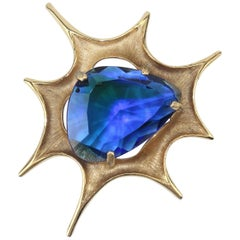 BSK Sapphire Blue Glass Gold Brooch