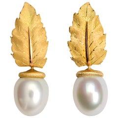 Buccellati Gold Leaf and Pearl Drop Earrings