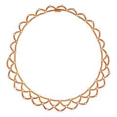 Bucellati Ondine Yellow Gold and Diamond Necklace