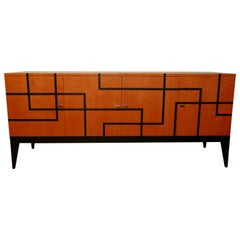 """Buffet """"Filets"""" in Hermes Orange and Black Sycamore Marquetery by Aymeric Lefort"""