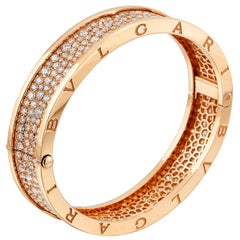 Bulgari Bzero Pave Diamond Rose Gold Bangle