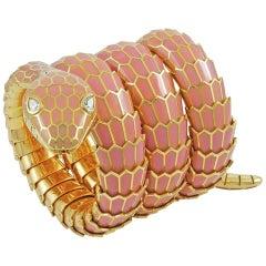 Bulgari Diamond, Mauve Pink Enamel Serpenti Watch