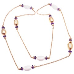 Bulgari Mediterranean Eden Sautoir Amethyst Ceramic Rose Gold Long Necklace
