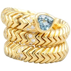 Bulgari Spiga Diamond Blue Topaz and 18 Karat Gold Flexible Snake Ring
