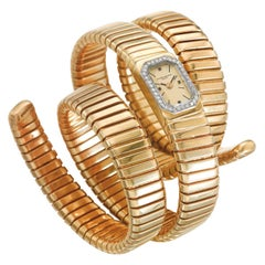 Bulgari Vacheron Constantin Yellow Gold Diamond Tubogas Cuff Watch