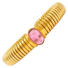 Bulgari Vintage Pink Tourmaline 18 Karat Gold Tubogas Cuff Bracelet