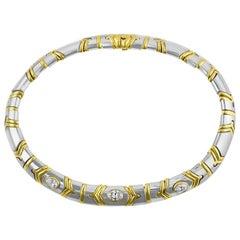 Bulgari White and Yellow Gold Diamond Necklace GIA Certified