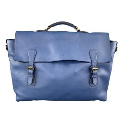 BURBERRY PRORSUM Blue Pebbled Leather Spring 2015 EVERYDAY SATCHEL Bag