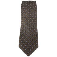 BURBERRY PRORSUM Brown & Navy Square Print Silk Skinny Tie