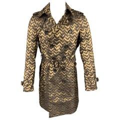BURBERRY PRORSUM Fall 2007 Size M Metallic Gold & Brown Print Silk Trenchcoat