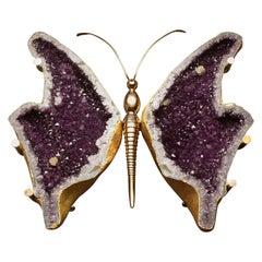 Butterfly Amethyst Geode Coffee Table